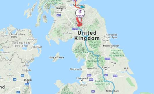 Image of journey so far (3rd June 2020). We have managed to reach Hopehouse in Scotland.